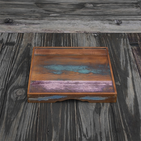 Old-material Cypress Wood Tray (Square)