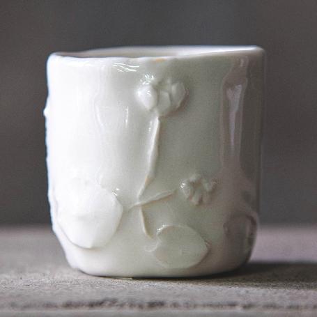 Yoshimura Midori : Hand-made Relief Cup - Taiwan Yellow Water Lily